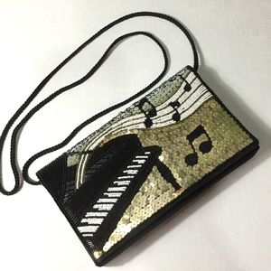 piano & music note sequined & beaded evening bag
